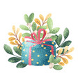 gift and branch vector image vector image