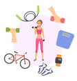 girl exercising with dumbbells poster banner vector image vector image
