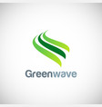 green wave abstract logo vector image vector image