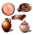 gugs utensils and fragment with floral ornament vector image vector image