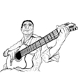 guitarist ink sketch vector image