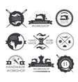 Handmade workshop logo vintage set vector image