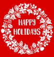 happy holidays card with white wreath on red vector image vector image