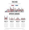 india travel infographics in linear style vector image