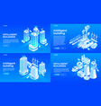 intelligent building banner set isometric style vector image