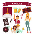 karaoke club party icon attributes poster on white vector image vector image