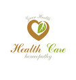 loving heart decorated with green leaves wellness vector image