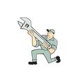 Mechanic Kneeling Holding Spanner Wrench Cartoon vector image