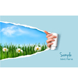 Nature background with green grass and sky and vector image vector image