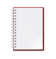 notebook with sheets in a cage on white vector image vector image