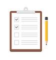 notepad checklist organizer with pencil icon vector image