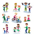parents and their kids training and doing sportive vector image vector image