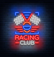 racing club neon logo logo a glowing sign on the vector image vector image