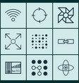 set of 9 robotics icons includes recurring vector image vector image