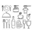 set of restaurant elements vector image