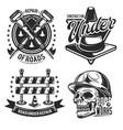 set road works emblems labels badges vector image vector image
