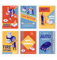 set social advertisement for car repair service vector image vector image
