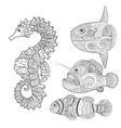 set with zentangle fish vector image vector image