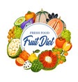 tropical fruits diet banner grocery store or shop vector image