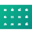 Wallet icons on green background vector image vector image