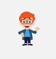 white boy with glasses waving happy vector image vector image