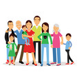 big family mom dad kids and grandparents vector image