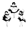Cabaret dancer silhouettes set vector image