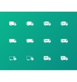 Delivery Trucks icons on green background vector image