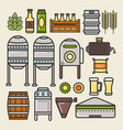 beer brewery factory production line elements vector image