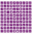 100 researcher science icons set grunge purple vector image vector image