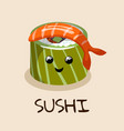 banner with japanese sushi with shrimp vector image