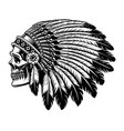 black and white of an indian skull vector image vector image