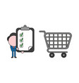 businessman character with shopping cart and vector image vector image