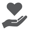care glyph icon family and love hand holding vector image vector image