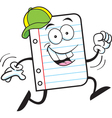 Cartoon Notebook Paper Running vector image vector image