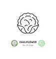 cauliflower icon vegetables logo cabbage thin vector image vector image