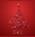 christmas tree background with shining red vector image vector image