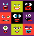 colorful monster faces set vector image vector image