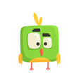 cute little green funny chick bird square shape vector image vector image