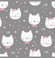 cute seamless pattern with funny cats vector image