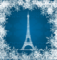 eiffel tower snowflakes vector image