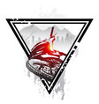 emblem with mountain bike and helmet downhill vector image vector image
