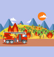 fire truck at burning vineyard wildfire disaster vector image