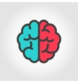 flat color line brain icon vector image