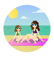 funny drawing family mom and cute daughter vector image