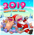 happy new year greeting card with santa and pig vector image