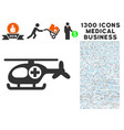 helicopter icon with 1300 medical business icons vector image vector image