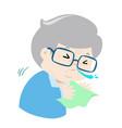 ill grandpa sneezing cartoon vector image vector image