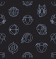 monochrome seamless pattern with zodiac signs vector image