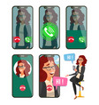 online call woman face mobile screen vector image vector image